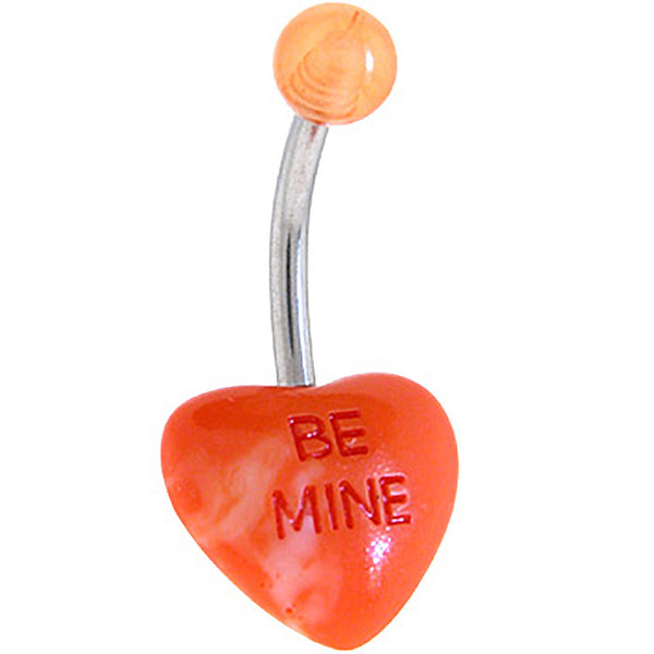 BE MINE Multi Orange CANDY HEART Belly Button Ring