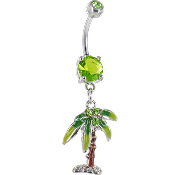 Peridot Green Gem PALM TREE Dangle Belly Ring