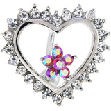 Aurora CZ Hollow Heart Reversible Top Mount Belly Ring