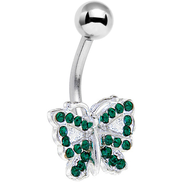 Emerald Green JEWELED BUTTERFLY Belly Ring