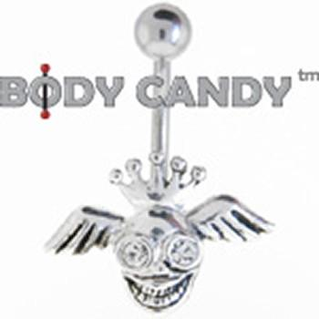 Clear Gem Crazy King Winged Skull Belly Ring