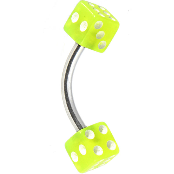 Green Acrylic Dice Belly Ring