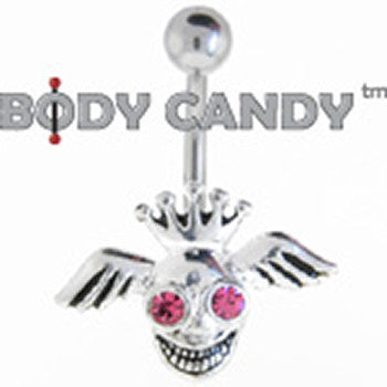 Pink Gem Crazy King Winged Skull Belly Ring