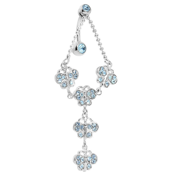 TOP DANGLE Aquamarine PAVED GEM BUTTERFLY CHAIN Belly Ring