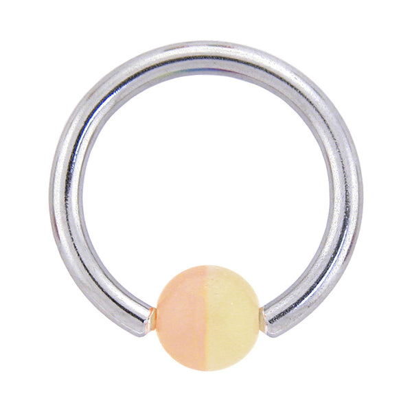 14 Gauge 7/16 Two-Tone Pale Yellow and Pink BCR Captive Ring