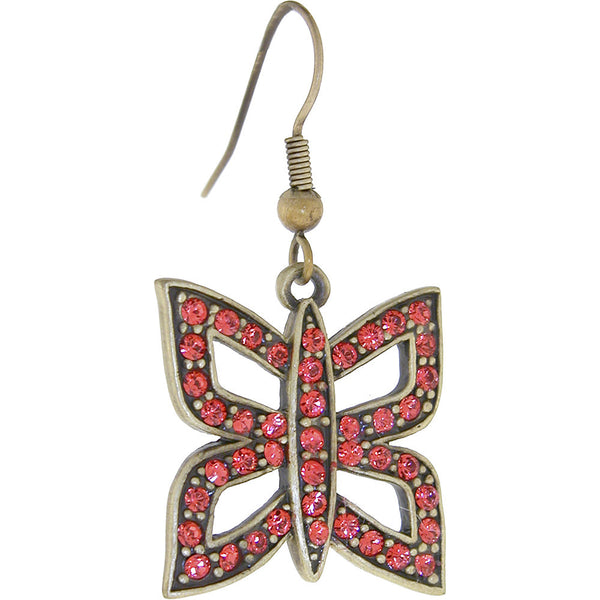 ELLE Jewery Antique Copper Padparadscha Rhinestone BUTTERFLY Earrings