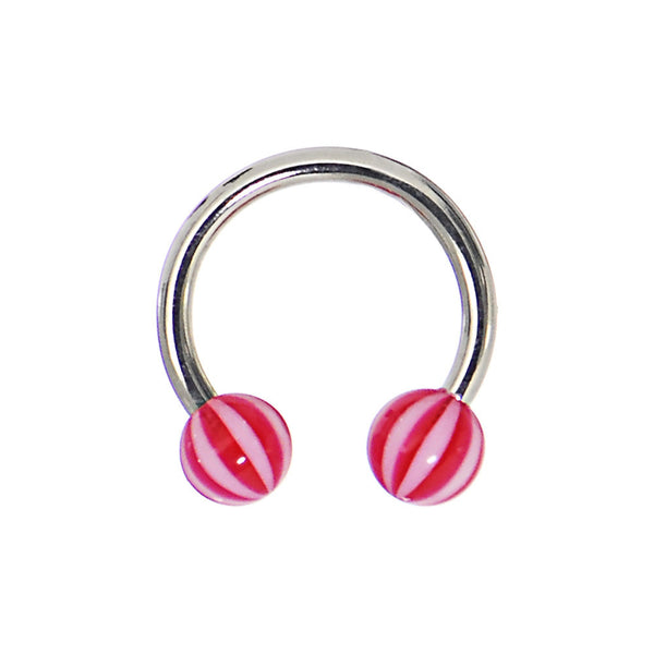 14 Gauge 7/16 Peppermint Red Beach Ball Horseshoe Circular Barbell