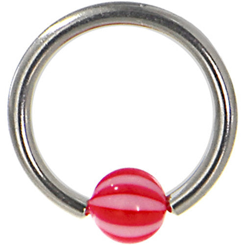 14 Gauge PEPPERMINT Red Beach Ball BCR Captive Ring