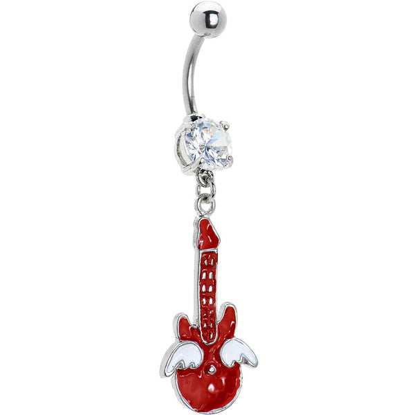 Cubic Zirconia Wing Guitar Belly Ring