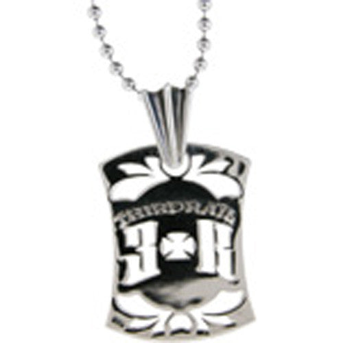 THIRD RAIL Engraved Thrid Rail Logo ID TAG Pendant 20 White Metal Necklace
