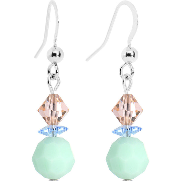 Mint Alabaster Peach Crystal Dangle Earrings Created with Swarovski Crystals