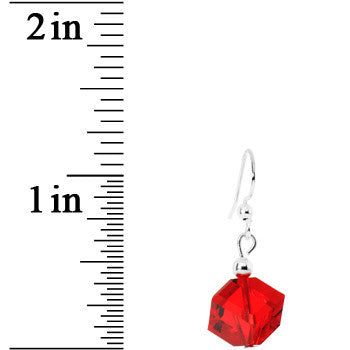 Light Siam Red Cube Crystal Dangle Earrings Created with Swarovski Crystals