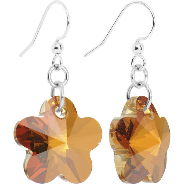 Copper Flower Crystal Dangle Earrings Created with Swarovski Crystals