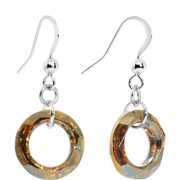 Copper Hollow Ring Crystal Earrings Created with Swarovski Crystals