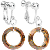 Copper Hollow Ring Crystal Clip-On Earrings Created with Swarovski Crystals