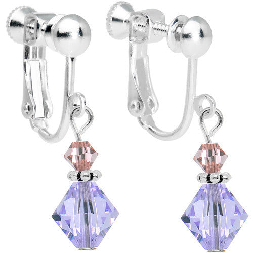 Violet Light Peach Crystal Clip-On Dangle Earrings Created with Swarovski Crystals