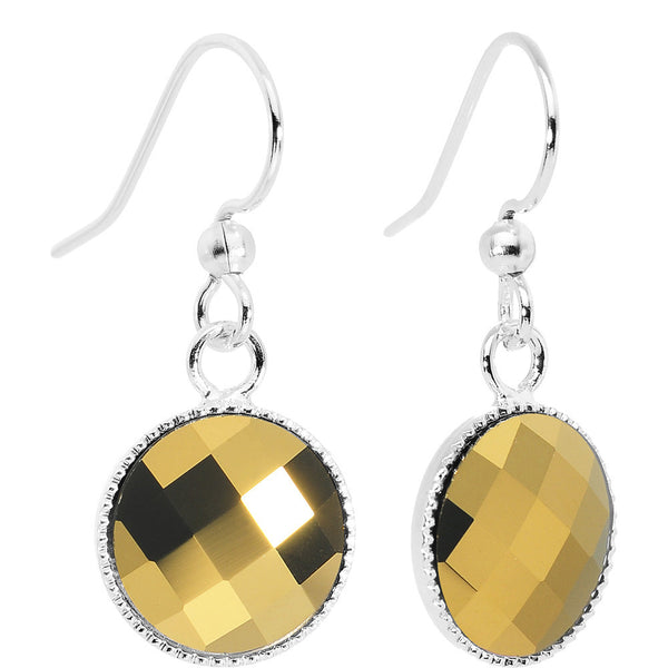 Faceted Dorado Flatback Crystal Dangle Earrings Created with Swarovski Crystals