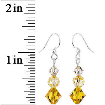 Khaki Jonquil Crystal Three Drop Earrings Created with Swarovski Crystals