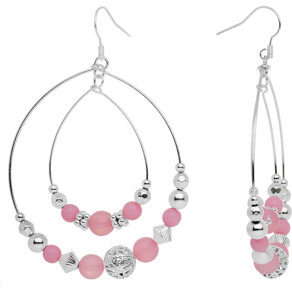 Pink Beaded Double Hoop Fashion Earrings