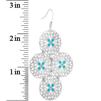 Silver Turquoise Color Round Filigree Dangle Earrings