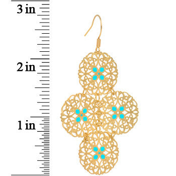 Gold Turquoise Color Round Filigree Dangle Earrings