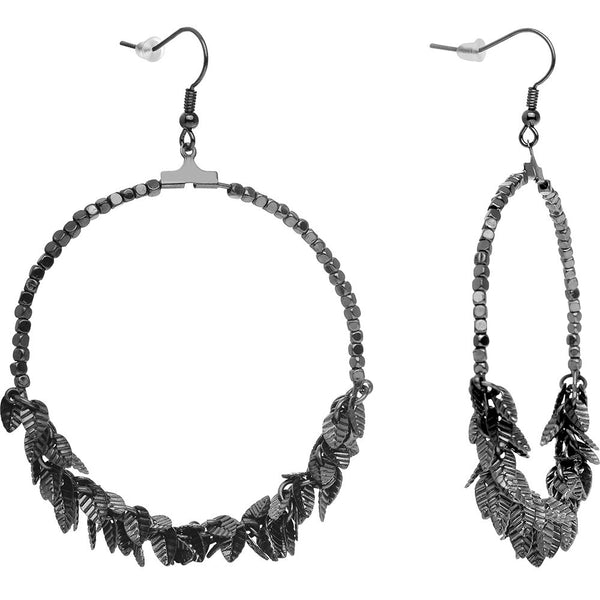 Hematite Tone Leaf Cluster Hoop Earrings