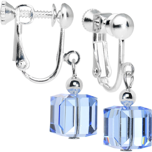 Light Sapphire Cube Dangle Clip On Earrings Created with Swarovski Crystals