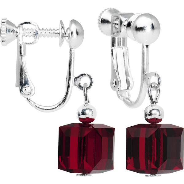 Siam Red Crystal Cube Dangle Clip On Earrings Created with Swarovski Crystals