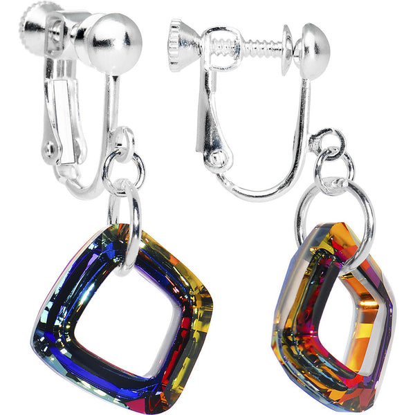 Volcano Cosmic Square Crystal Clip-On Earrings Created with Swarovski Crystals