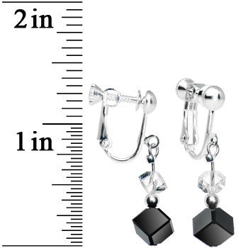 Jet Black Cube Dangle Clip On Earrings