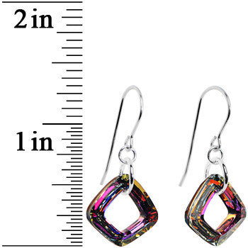 Volcano Cosmic Square Crystal Dangle Earrings Created with Swarovski Crystals