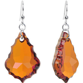 Topaz 28mm Baroque Crystal Dangle Earrings Created with Swarovski Crystals