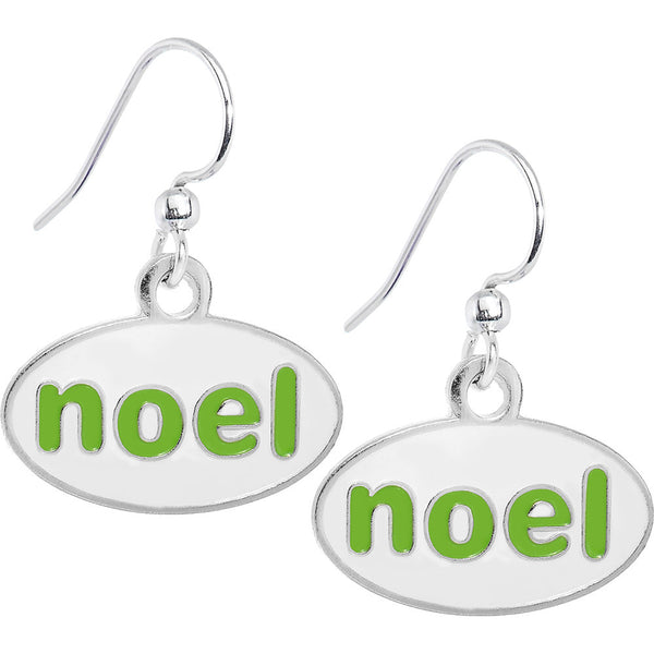 Green and White Holiday Noel Earrings
