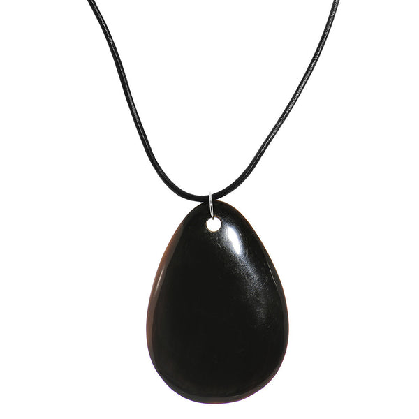 Leather Large Black Horn Shell Pendant Choker Necklace