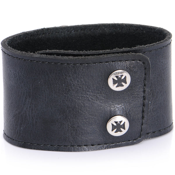 THIRD RAIL Leather Cuff BITCH Snap Closure BRACELET 8 and 8.5