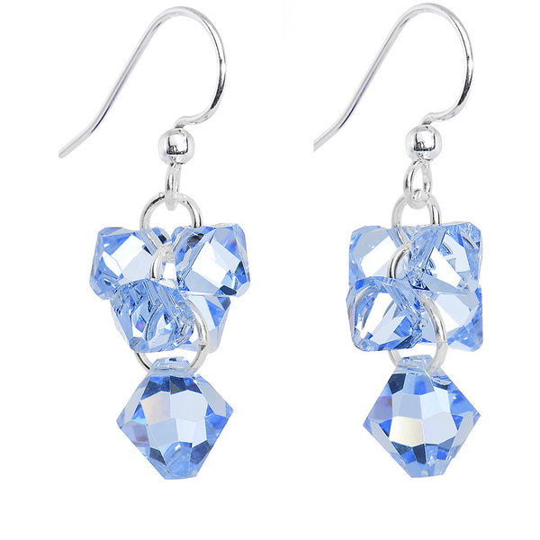 Crystal Light Sapphire Dangle Earrings Created with Swarovski Crystals