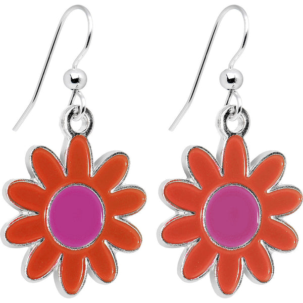 Red-Orange and Pink Daisy Flower Dangle Earrings