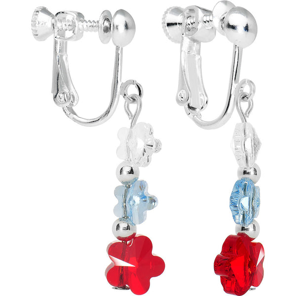 Patriotic Flower Clip On Earrings Created with Swarovski Crystals