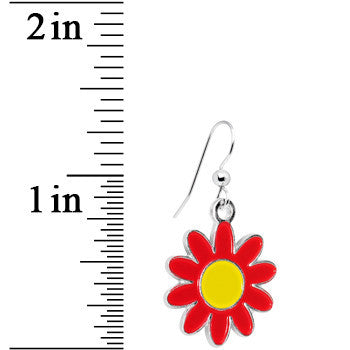 Red and Yellow Daisy Flower Dangle Earrings
