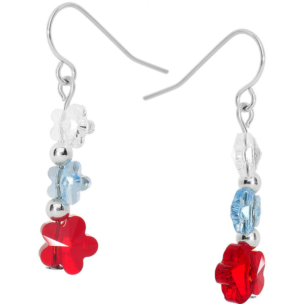 Patriotic Flower Dangle Earrings Created with Swarovski Crystals
