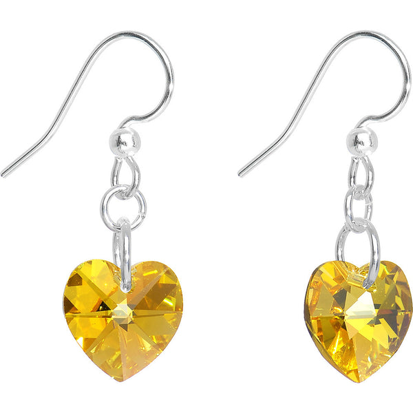 Yellow Crystal Heart Dangle Earrings Created with Swarovski Crystals