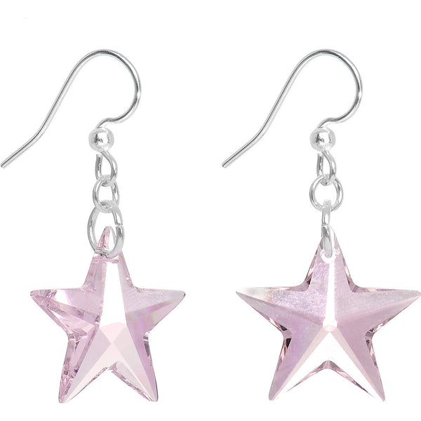 Rose Crystal Star Dangle Earrings Created with Swarovski Crystals