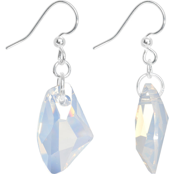 White Opal Galactic Dangle Earrings Created with Swarovski Crystals
