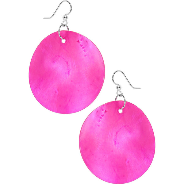 Pink Round Hammershell Dangle Earrings