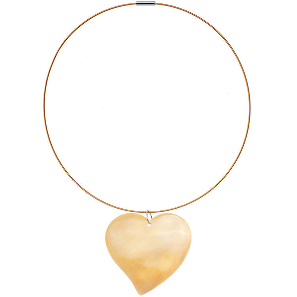 Handcrafted Peach Heart Shaped Melo Shell Wire Choker