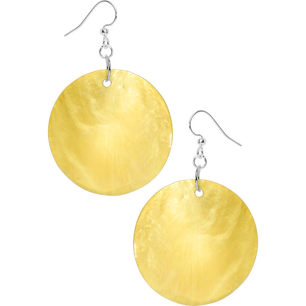 Round Yellow Hammershell Dangle Earrings