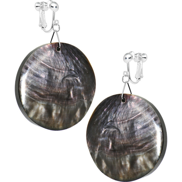 Thick Black Round Hammershell Dangle Clip On Earrings