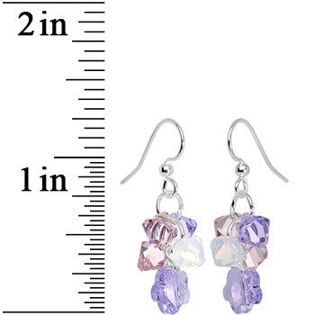Handcrafted Purple Cascading Drops Dangle Earrings Created with Swarovski Crystals
