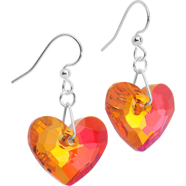 Astral Pink Crystal Heart Dangle Earrings Created with Swarovski Crystals