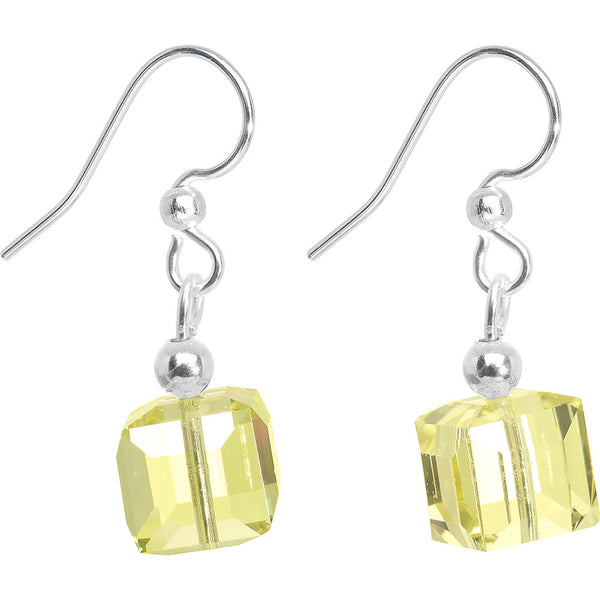 Mint Green Crystal Cube Dangle Earrings Created with Swarovski Crystals